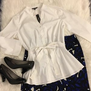 NWT   white blouse with bow tie